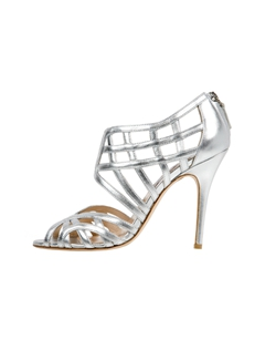 Silver Glitter Leather Caged Bootie