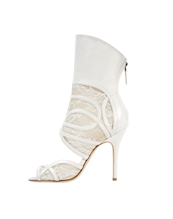 Ivory Lace and Leather Open Toe Mid-Calf Bootie