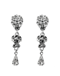 "Good things do come in small packages! These sterling silver filigree drop chandelier earrings are encrusted with Swarovski rhinestones and finished with a Swarovski teardrop. Dimensions: 1 1/2"" L."