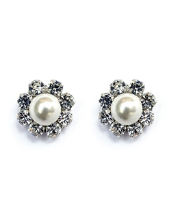 "A classic must have for your jewelry box! Swarovski crystals and pearls set on sterling silver are a beautiful, traditional stud earring with a modern twist. Dimensions: 1/2"" diameter."