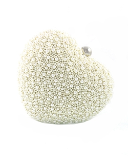 Gleaming pearls cover a heart shaped silk clutch. Perfect for holding your essentials!