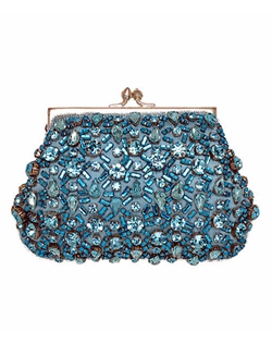 As seen in Martha Stewart Weddings and Brides. Stunning Swarovski crystal beads on a silk clutch. This is the perfect eye catching accessory! Satin lined with inside pocket, chain shoulder strap.