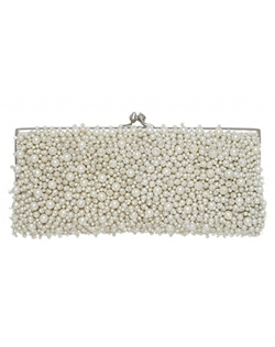 Pearls? Yes, please! Elegant silk clutch lavishly adorned with faux pearls. Clutch has satin lining and inside pocket, kiss closure, and  a long metal chain that can be tucked inside. Shown and available in Ivory.
