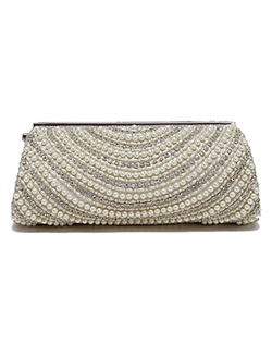 The combination of pearls and crystals is timeless and elegant, not to mention beautiful! This ivory silk clutch is embellished with row after row of round pearls, crystals, and seed pearls. Silver hardware accents this bag. Drop chain included. Shown and available in ivory.