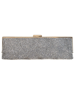 Elegant envelope style clutch with snap closure. Clutch has inside pocket and a long metal shoulder chain that can be tucked inside. Silver hardware.