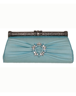 Something blue and sparkly! Shimmering Swarovski crystals accent a silk clutch with a vintage inspired cylinder clasp.