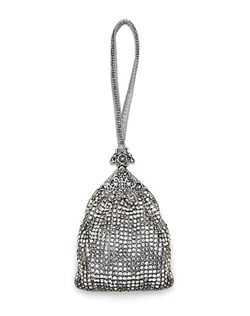 This bag is sure to draw attention! Silver silk wristlet adorned with clear and silver shade Swarovski crystals in a zig zag pattern.