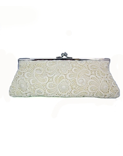 Lace is all over the runways this season and for good reason. It's elegant and feminine! Lace and beads make this vintage inspired bridal clutch unique.