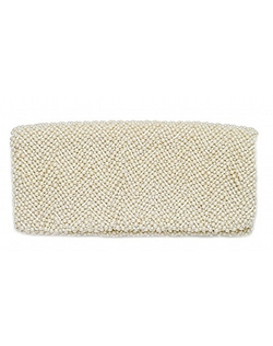 This fully beaded silk fold over clutch is detailed with an inside pocket and a flap top with zipper.