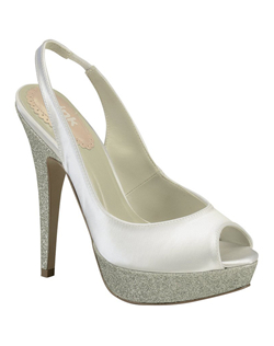 "The Pompom by Pink is a great and versatile slingback. The basic peep toe design works perfectly to compliment the the 1/2"" glittered platform addition. The 4 1/4"" heel is also coated in glitter to create a shimmering effect. Available in white and ivory."