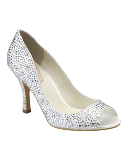 "The Celebrate by Pink is tradition meets modern day. The traditional styling of the peep toe pump is classic but when covered in glimmering rhinestones gives it a whole new look. The 3 1/4"" heel is a great height for almost everyone and also fully encrusted in rhinestones. Available in non-dyeable ivory."