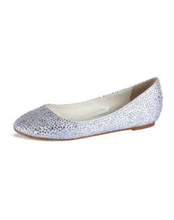The Twilight by Pink is a fully encrusted ballet slipper. All the sparkle and shine of the vampy platforms ion a flat! The simple design with rounded toe lets the combination of clear and silver crystals make the statement. This shoe works well with both White and Ivory gowns. Available in non-dyeable light Ivory.