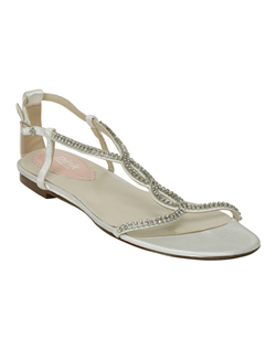 A completely comfortable way to end the day, you can slip into these sandals at the reception when your feet need a break. The sparkling crystal strap has a buckle at the side for a perfect fit. Made with white or ivory satin. White fabric is dyeable.See how Pink measures heel height.