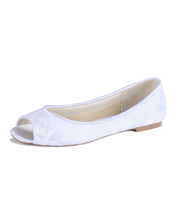 The Waterlily by Pink is a peep toe flat with a gorgeous lace overlay. The flat heel and peep toe design offer all the benifits of a flat as well as the styling of a sandal. A great choice for the fashion forward bride who loves flats! Available in Ivory lace.