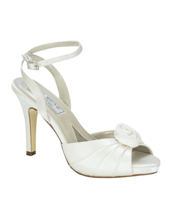 """An elegant look for spring or summer in beautiful dyeable white silk satin, this peep toe has a pretty rosette at the toe and a rhinestone buckle at the ankle that's adjustable for a comfortable fit. Platform sole, heel measures 3.25"""". See how Liz Ren measures heel height."