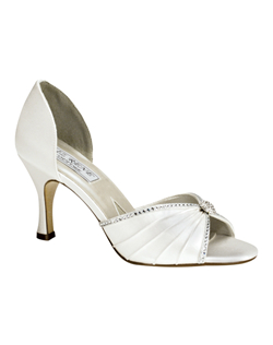 """Edged in clear crystals and a delicate crystal brooch, this peep-toe is ready-made for a special occasion in dyeable white satin. The feminine, hourglass heel measures 2.75"""". Available in a wide selection of sizes. See how Liz Ren measures heel height."