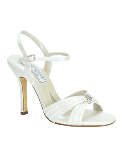 """This summery sandal is made from dyeable white silk satin shoes with a crystal embellishment at the toe. Heel measures 3.5"""". Available in a wide selection of sizes. See how Liz Ren measures heel height."