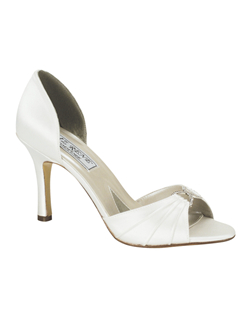 """This elegant pump is made of dyeable white silk satin with a crystal jewel at the toe. Heel measures 3"""". Available in a wide selection of sizes. See how Liz Ren measures heel height."