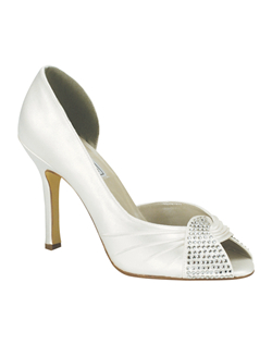 """A classic peep toe style made of dyeable white silk satin with crystal embellishments. Heel measures 3.5"""". Available in a wide selection of sizes. See how Liz Ren measures heel height."