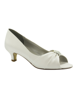 "The Liz Rene Angel shoes are the perfect fit for the traditional bride or attendee. The simple peep toe pump design and modest 1 3/4"" heel is great for any occasion. The vamp is updated with a fabric sash and rhinestone embellishment. The dyeable fabric makes customizing this style easy. Available in White dyeable silk."