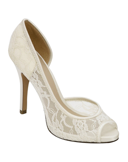 "With a 3 3/4"" heel, the lovely Brianna Leigh Ella pump is a stunningly sophisticated bridal shoe crafted in elegant white lace with silk trim. Brianna Leigh Ella wedding shoes feature a comfort enhancing peep toe are available in both white and ivory up to size 12. Non-dyeable."