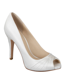 """The perfect peep toe pump with a twist. The classic style is updated with a full heel rhinestone embellishment and matching toe area. Heel is 3 3/4"". Available in non dyeable white, ivory and black silk satin.See how Brianna Leigh measures heel height.Determine which size to order.Add comfort with easy-to-use shoe pads.Are these shoes right for you? Discover your true style."""