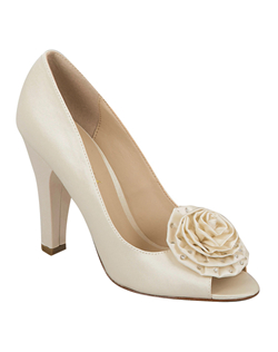 """Beautiful peep toe pumps adorned with a soft rosette embellishment and delicate rhinestones. The stacked 3 3/4"" heel is sturdy, and the closed in pump style is great for balance and comfort. Available in non dyeable white and ivory silk satin."