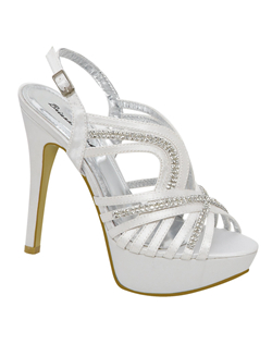 "Step out on your wedding day in the Brianna Leigh Hailey. This 4 1/2"" high heeled platform shoe offered in silk dazzles with rhinestones decorating the straps. Offered in both white and ivory, Brianna Leigh Hailey wedding shoes are the finishing touch to your wedding ensemble. Non-dyeable."