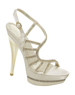 "Rhinestones and a decorative center S strap make the Brianna Leigh Renee wedding shoes a favorite. Their unique strappy high heel design features an open toe platform sandal and is available in both white and ivory silk for the utmost in bridal shoe style and fashion. 4 1/2"" heel, non-dyeable."