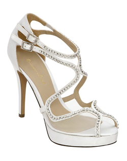 "Sparkle on your big day. The Brianna Leigh Dazzling in white is a knockout closed back bridal high heeled sandal features a comfort enhancing peep toe. Brianna Leigh Dazzling wedding shoes boast stunning rhinestone embellished straps on a lovely upper crafted in silk and mesh. The Brianna Leigh Dazzling features a comfort enhancing peep toe. 4""heel, non-dyeable."