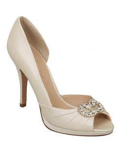 """Gorgeous platform peep toe heels with rhinestone brooch and light pleating detail. The 3 3/4"" heel offers a great height while the small platform provides a comfortable fit.See how Brianna Leigh measures heel height.Determine which size to order.Add comfort with easy-to-use shoe pads.Are these shoes right for you? Discover your true style."""