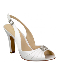 """A glamorous peep-toe slingback is appropriate for a wedding any time of year. Made in white or ivory satin, this shoe is not dyeable. Heel measures 3 1/8"""""
