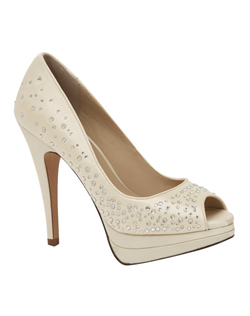 """Bring on the bling. These beautiful peep toe platform pumps feature sparkeling crystal accents all over to give a shimmering effect. The 1/2"" platform front makes the 4 1/2"" heel comfortable and managable. Available in white and ivory.See how Brianna Leigh measures heel height."
