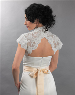 cap sleeve ivory lace bolero jacket with keyhole back