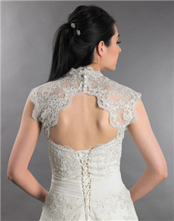 sleeveless ivory lace bolero jacket with keyhole back
