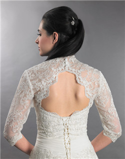 3/4 sleeve ivory lace bolero jacket with keyhole back