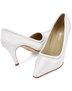 """The ideal shoe for the girl with the pearl earrings. Silk satin pumps are decorated with delicate silver-thread embroidery and two rows of pearl-tone beads. 3 1/8"""" heel. Available in limited sizes and colors. This shoe is not dyeable."