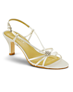 """Elana feels like the first burst of spring with its strappy, airy design and crystal floral detail at the toe. The slingback is set with a crystal buckle and a bit of elastic for a comfortable fit. You choose white or ivory silk satin. Heel measures 3 . This fabric is not dyeable."