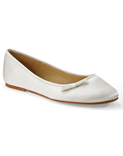"""A sensible choice for a long day on your feet, this cute little ballet flat has a dainty bow placed off to the side of the vamp as a dressy finish in your choice of white or ivory. This fabric is not dyeable."