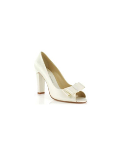 """This classic pump gives you plenty of height with its 4"""" heel. Made in your choice of white or ivory fabric and available in a wide selection of sizes. This fabric is not dyeable."
