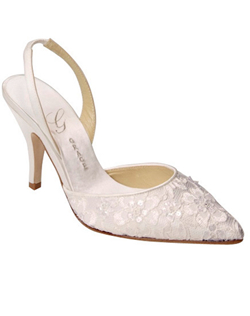 """This style adds texture and interest to a gown with a simple hemline, but also pairs beautifully with lace details. The slingback has a bit of elastic at the back so it's easy to slip on and wear all night. Heel measures 3.75"""". Fabric comes in non-dyeable white or ivory."
