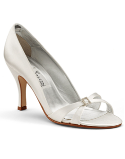 """This comfortable pump has a summery twist - a fully open toe that gives the illusion of a strappy sandal. Finished with understated details like a crystal buckle at the toe and a 3.25"""" heel. Available in white or ivory silk satin and a wide selection of sizes. Fabric is not dyeable."