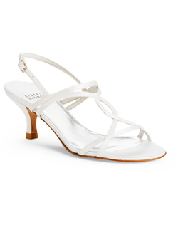 """You're all set for warm weather in this strappy sandal with 2.5"""" heel. Made with top-quality luxurious dyeable white silk satin and a leather sole."