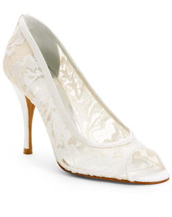 """Lacy and a just a little racy with a peep toe and 3.75"" heel. Lingerie is made with luxurious white lace and a leather sole."