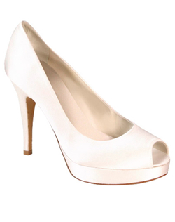 """Fussy? Nope. Fabulous? Yes! This peep-toe pump has a 4.5"" heel complemented by a platform sole. Crafted from soft, top quality dyeable white silk satin."