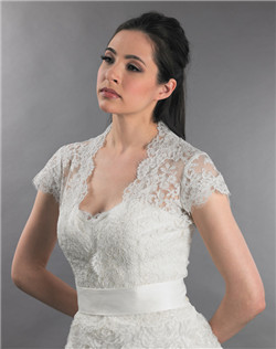 cap sleeve front open lace wedding jacket with sash