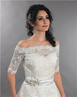 off shoulder lace wedding jacket