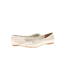 "The David Tutera Blossom flats are the perfect embellished Ivory ballet flats. The simple ballet flat design features a round toe with clear rhinestone crystals that glitter in the light, leather sole and insole and a slight 1/4"" heel. The insole is slightly padded for additional comfort"