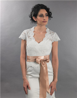 cap sleeve front open lace wedding jacket