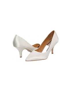 "The Badgley Mischka Monika II classic tapered toe pumps are perfect to customize to your own personal style. The feminine cut is sexy yest subtle. The perfect 3"" slender cut heel is stylish and comfortable."